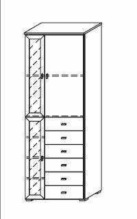 COOKIE Tür-/ Schubelement 3trg rechts | Alpinweiss/grau DETAIL_IMAGE 2