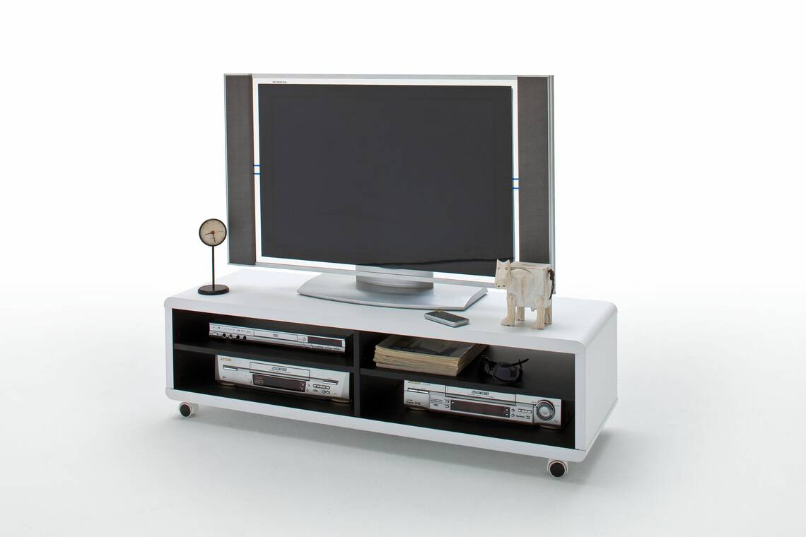 jaap 7xl tv lowboard wei innen schwarz mit rollen. Black Bedroom Furniture Sets. Home Design Ideas
