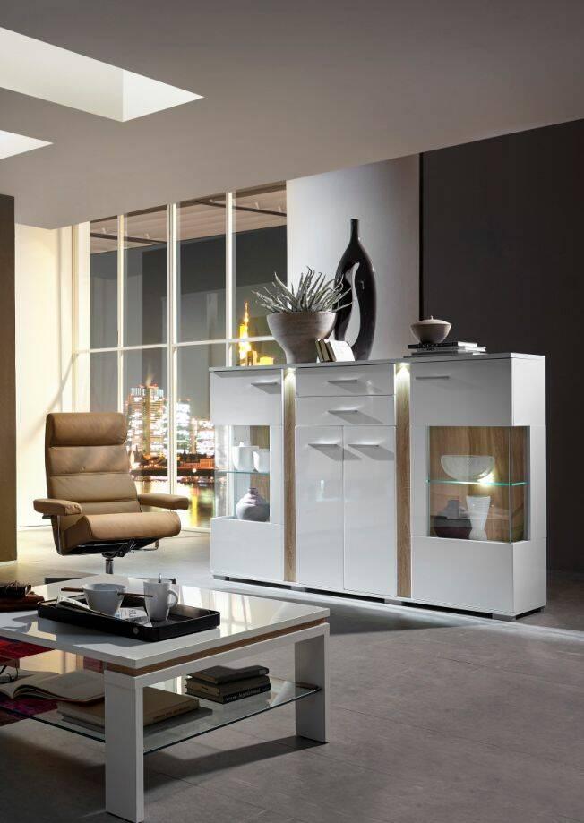 spots highboard weiss eiche sonoma. Black Bedroom Furniture Sets. Home Design Ideas