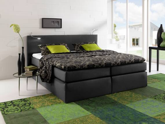 savanna boxspringbett doppelbett h rtegrad 2 140 x 200 cm schwarz. Black Bedroom Furniture Sets. Home Design Ideas
