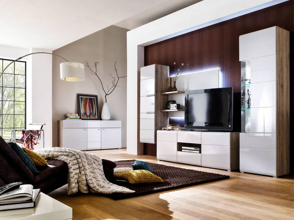 wohnwand betty iii san remo sand wei. Black Bedroom Furniture Sets. Home Design Ideas