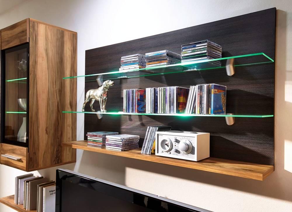 highlight wohnwand nussbaum satin pinie dunkel touchwoo. Black Bedroom Furniture Sets. Home Design Ideas
