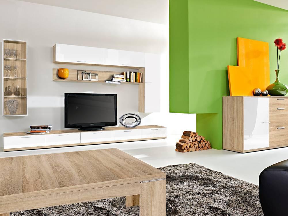 arte m game plus wohnwand ii eiche weiss hg. Black Bedroom Furniture Sets. Home Design Ideas