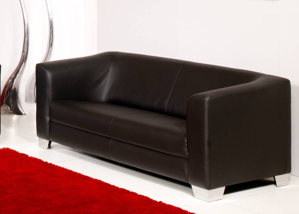 chicago sofa couch 3 sitzer schwarz kunstleder kunstledercouch 3 sitzer sofa ebay. Black Bedroom Furniture Sets. Home Design Ideas