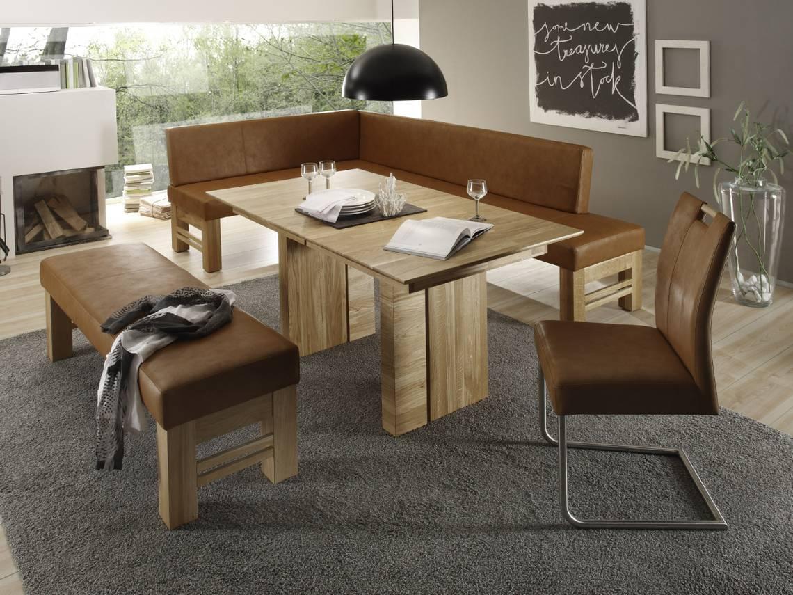 flo sitzbank ohne r cken kunstleder massivholz hellbraun eiche sonoma 130 cm. Black Bedroom Furniture Sets. Home Design Ideas