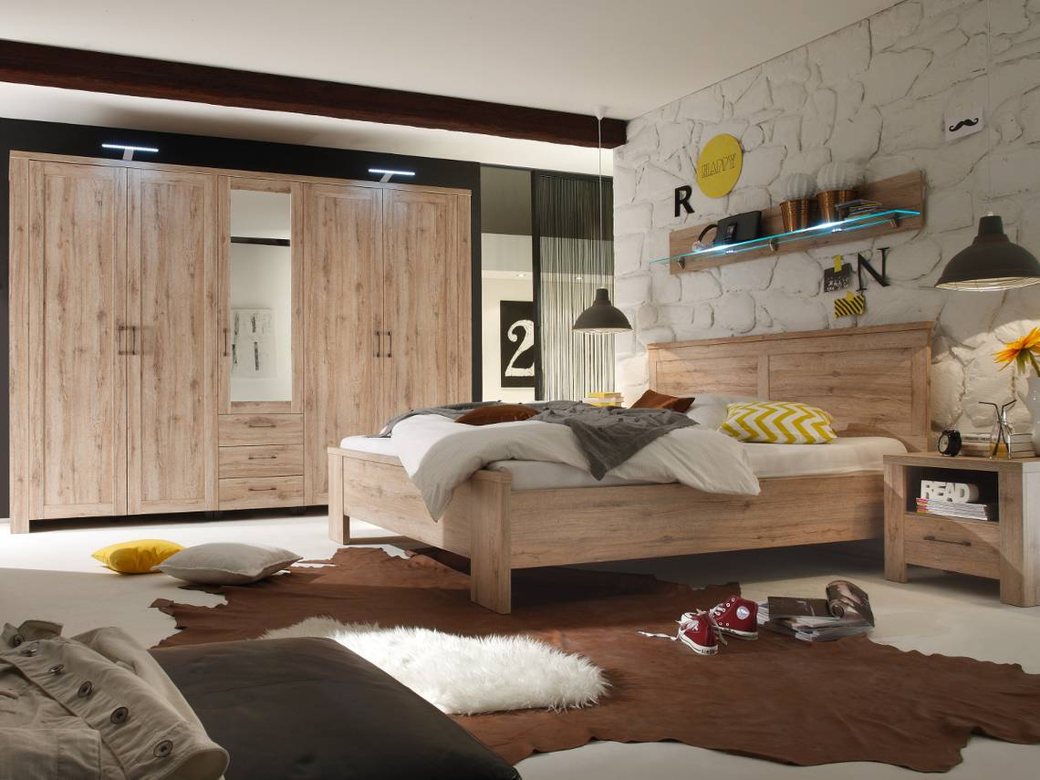 leroy kleiderschrank eiche san remo hell breite 287 cm. Black Bedroom Furniture Sets. Home Design Ideas