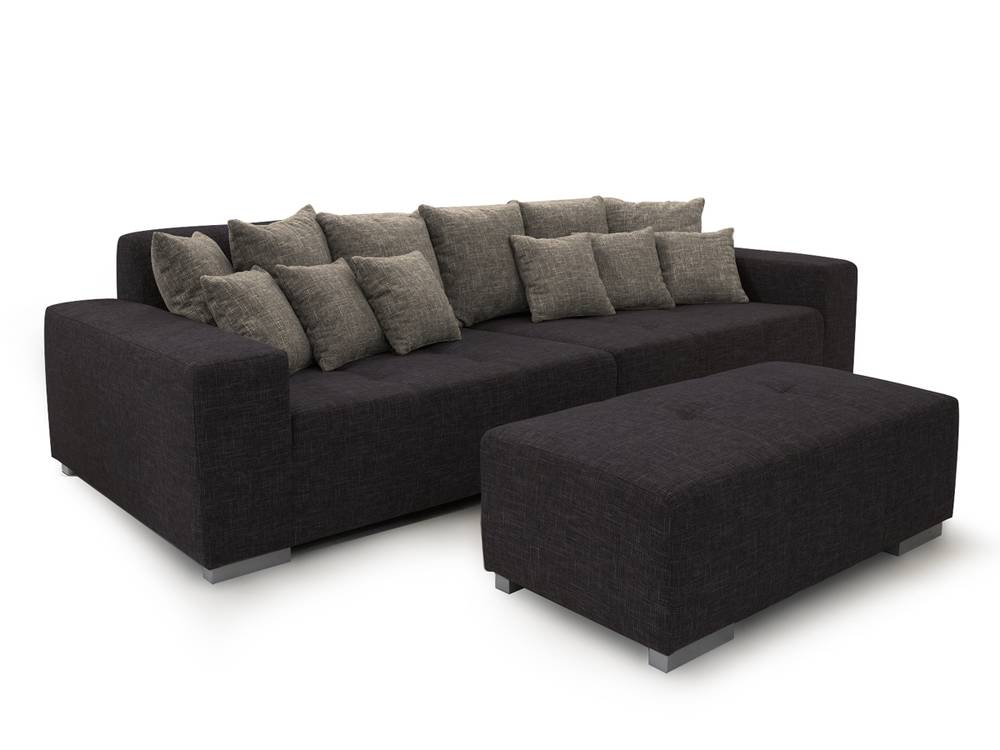 ariba 3 big sofa couch schwarz grau. Black Bedroom Furniture Sets. Home Design Ideas