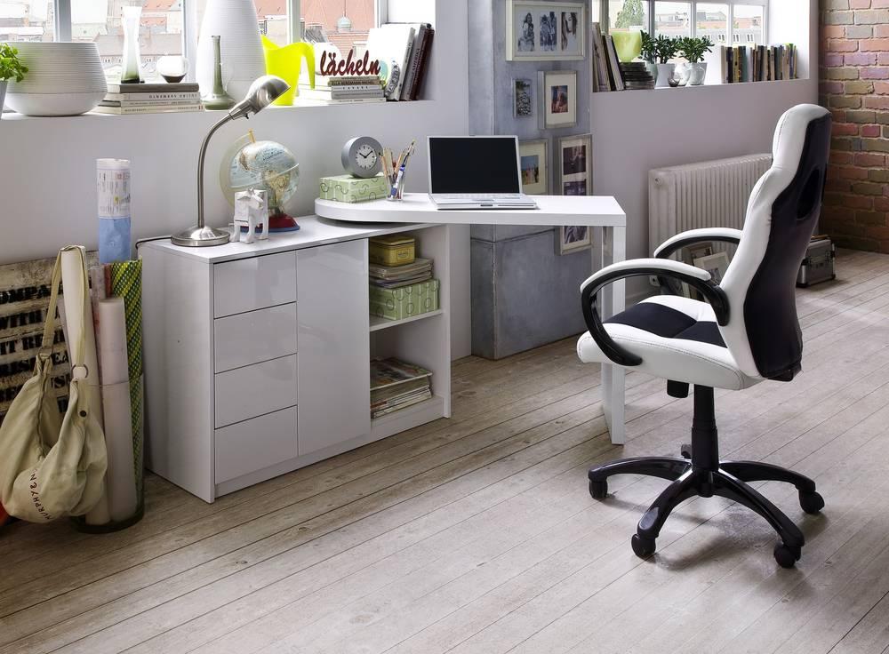 mika schrank mit drehbarem schreibtisch wei. Black Bedroom Furniture Sets. Home Design Ideas