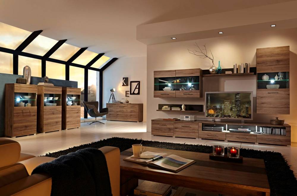 diego wohnwand i san remo eiche schiefer. Black Bedroom Furniture Sets. Home Design Ideas