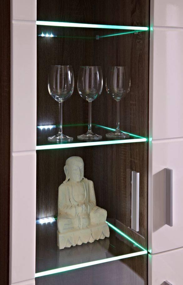 yanni wohnwand sonoma eiche dunkel wei hochglanz. Black Bedroom Furniture Sets. Home Design Ideas