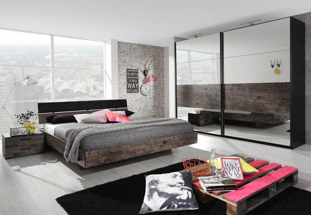 STARDUST Bett schwarz/Vintage braun mit Polster Kopfteil 140 x 200 cm ...