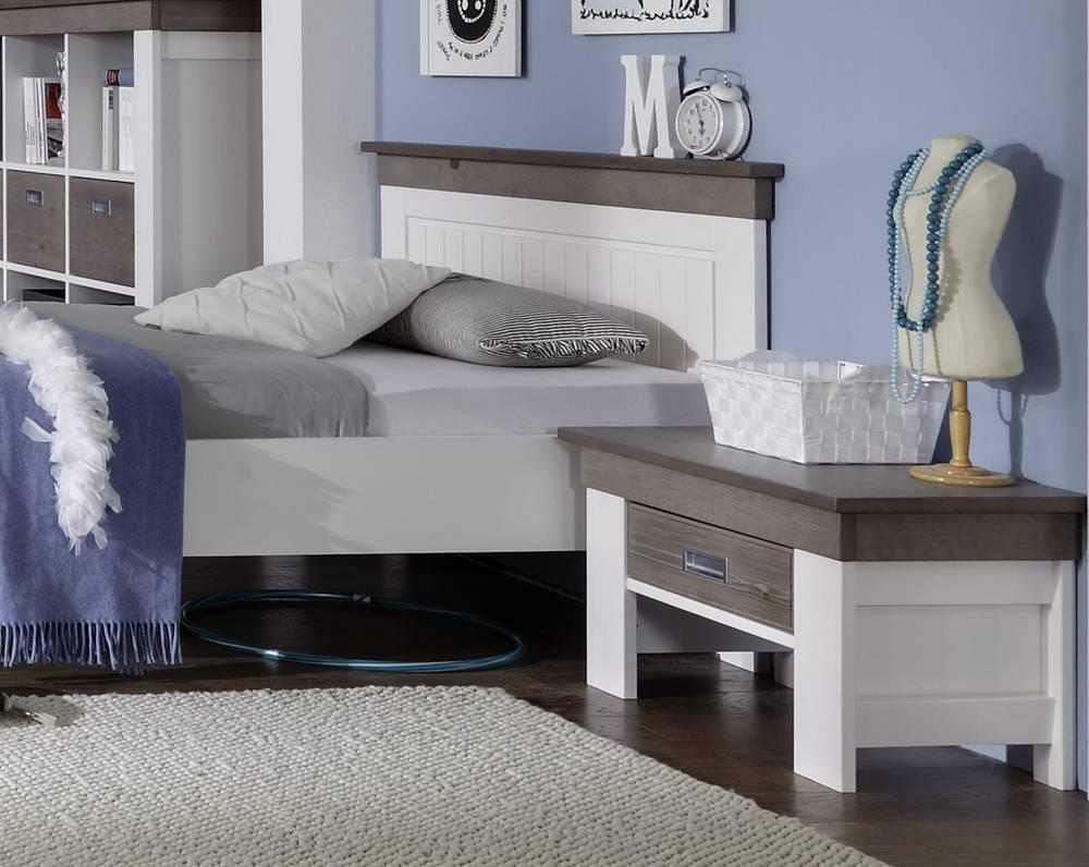 Luca einzelbett jugendbett kiefer tr ffel lackiert 140 x for Komplett schlafzimmer luca