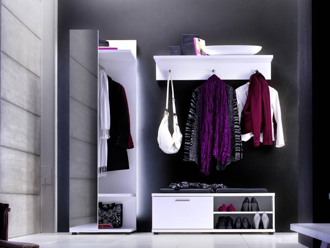 Cora garderobenpaneel mit spiegel weiss for Garderobenpaneel spiegel