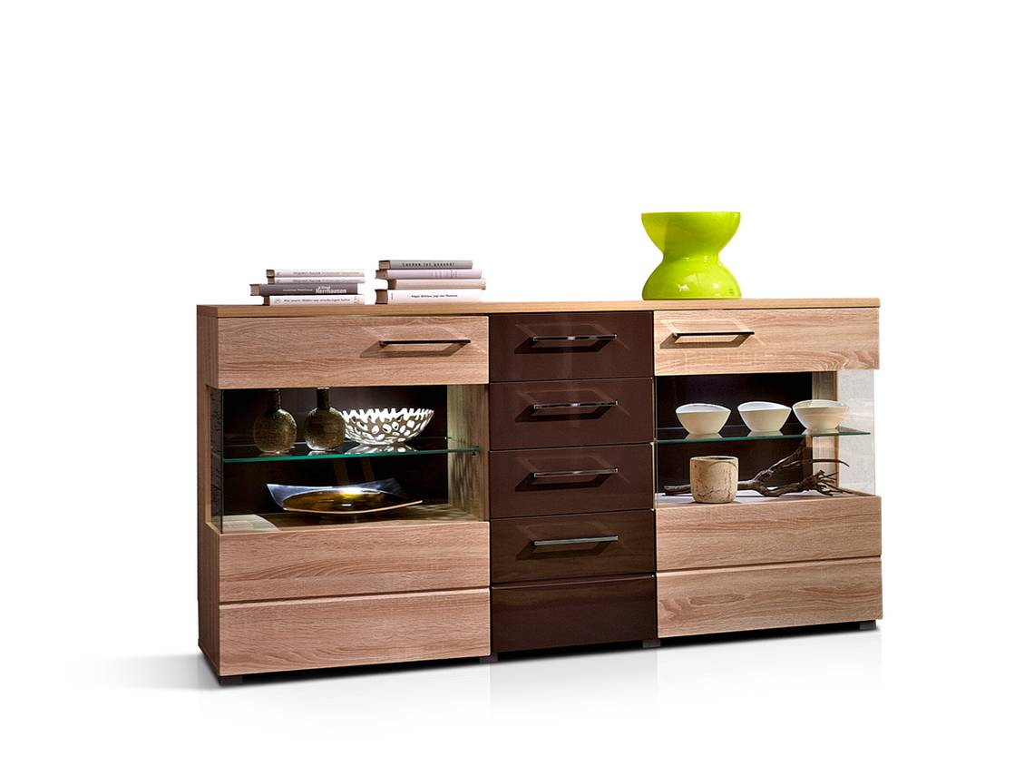 jasmina sideboard eiche sonoma hell schwarzbraun. Black Bedroom Furniture Sets. Home Design Ideas