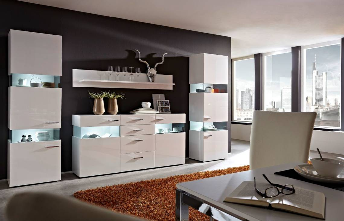 magdalena sideboard wei glas parsol grau. Black Bedroom Furniture Sets. Home Design Ideas
