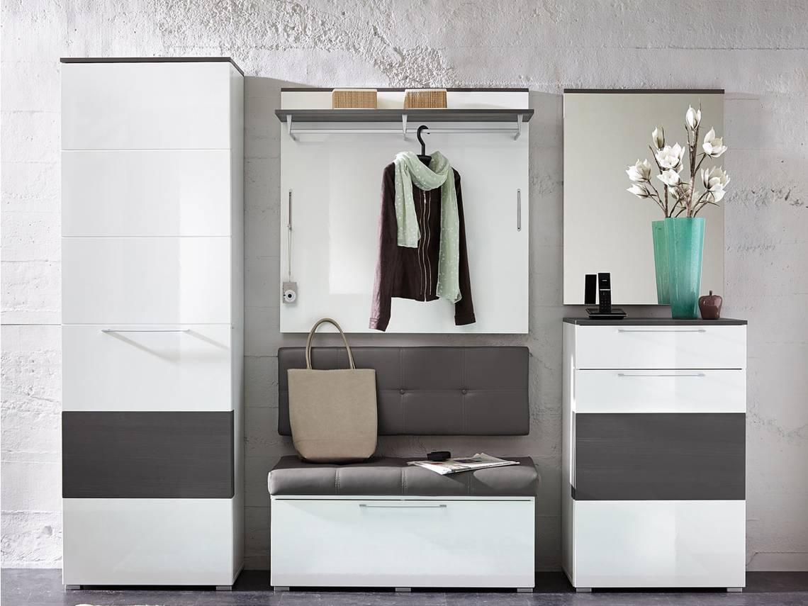 Rene schuhschrank weiss hochglanz weiss hg grau for Garderobe komplett programme