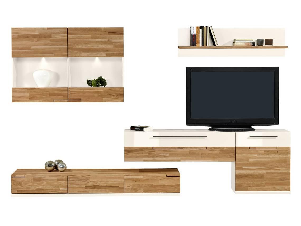 Wohnzimmer creme hochglanz raum und m beldesign inspiration for Wohnwand 5 m