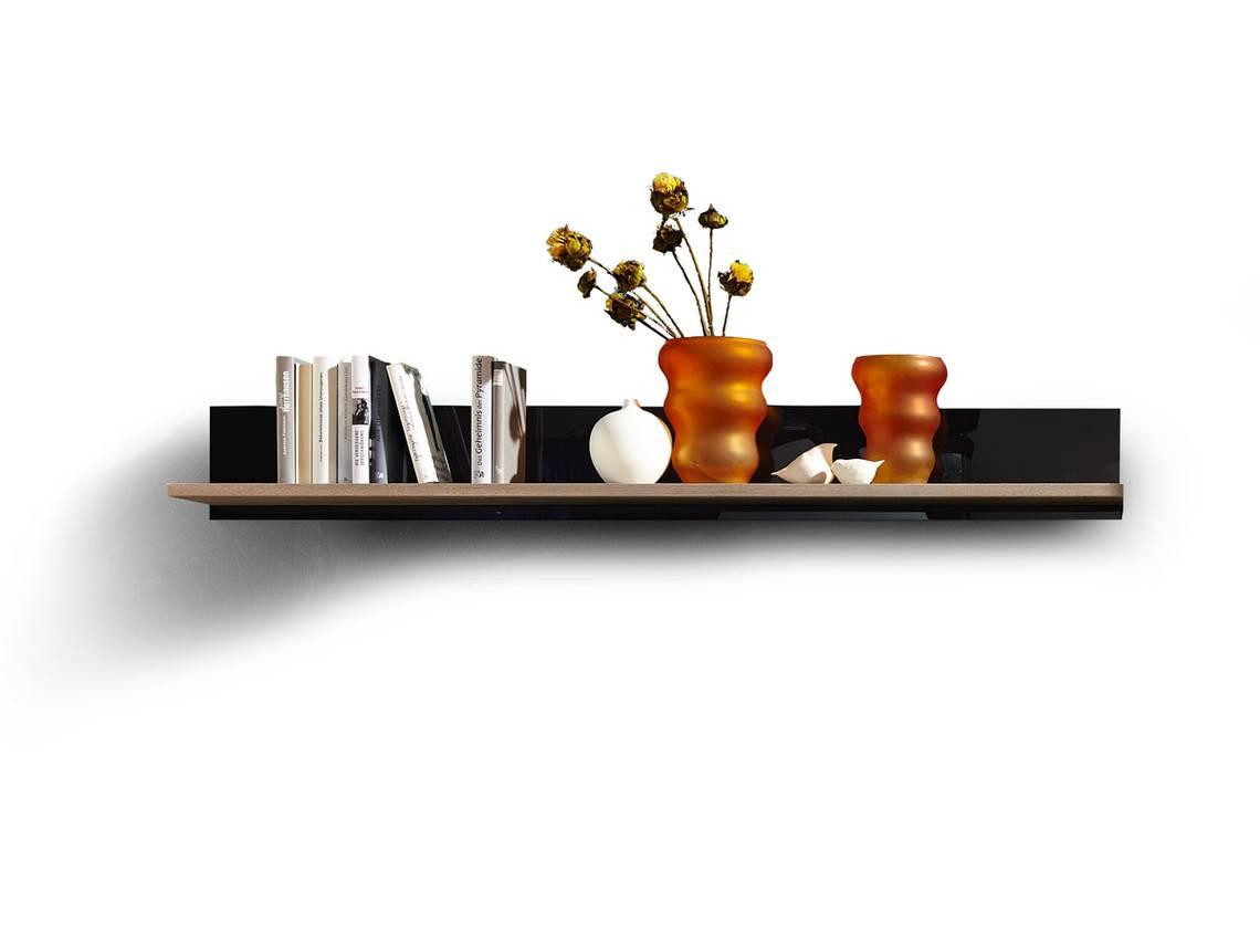 BLACK Wandregal mit Boden SilbereicheSchwarzglas