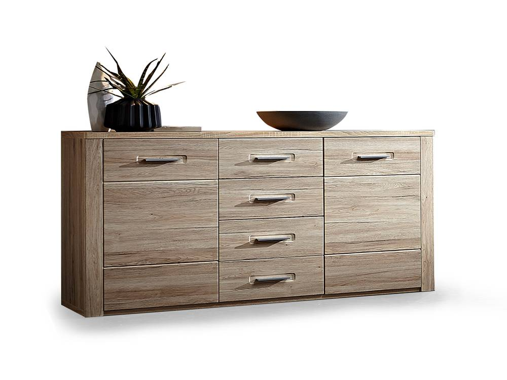 pro sideboard san remo eiche hell schiefer. Black Bedroom Furniture Sets. Home Design Ideas