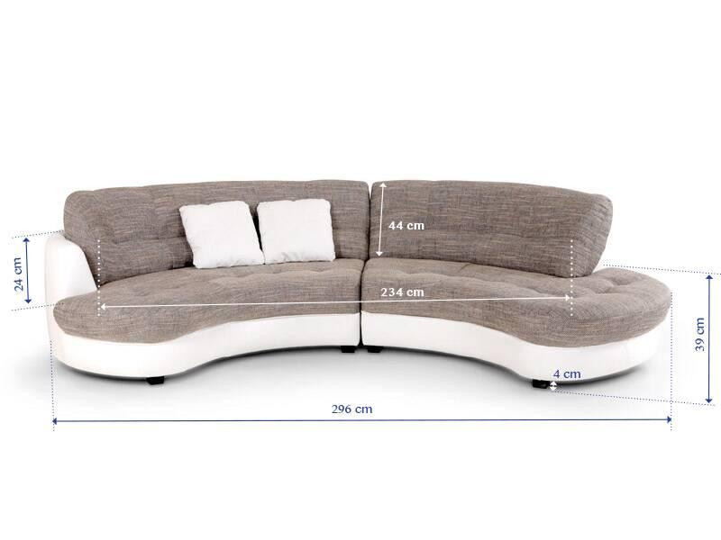 Sofa runde form  ROMA Ecksofa Kunstleder Stoffbezug Ottomane rechts halbrund 2 ...