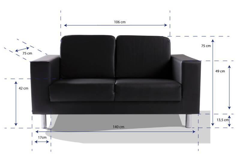 susi 2er sofa kunstleder schwarz. Black Bedroom Furniture Sets. Home Design Ideas