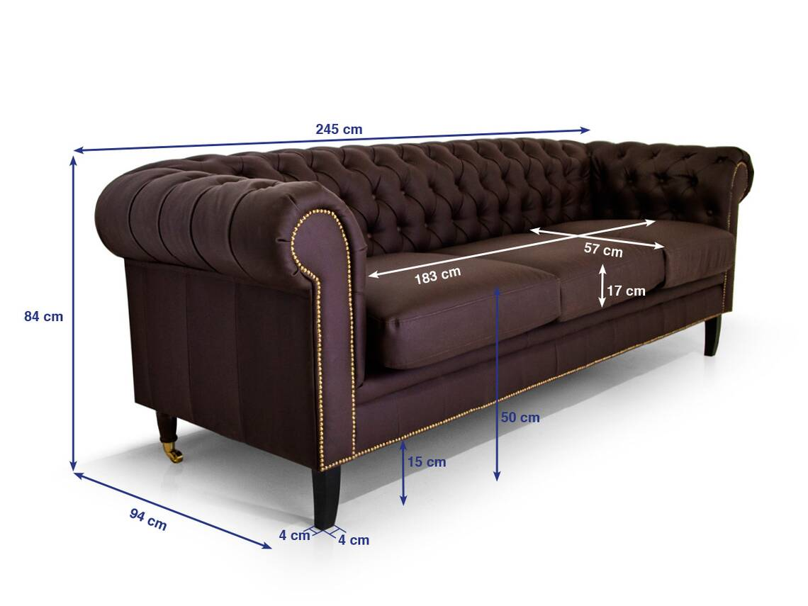 chesterfield 3er sofa santos kunstleder braun. Black Bedroom Furniture Sets. Home Design Ideas