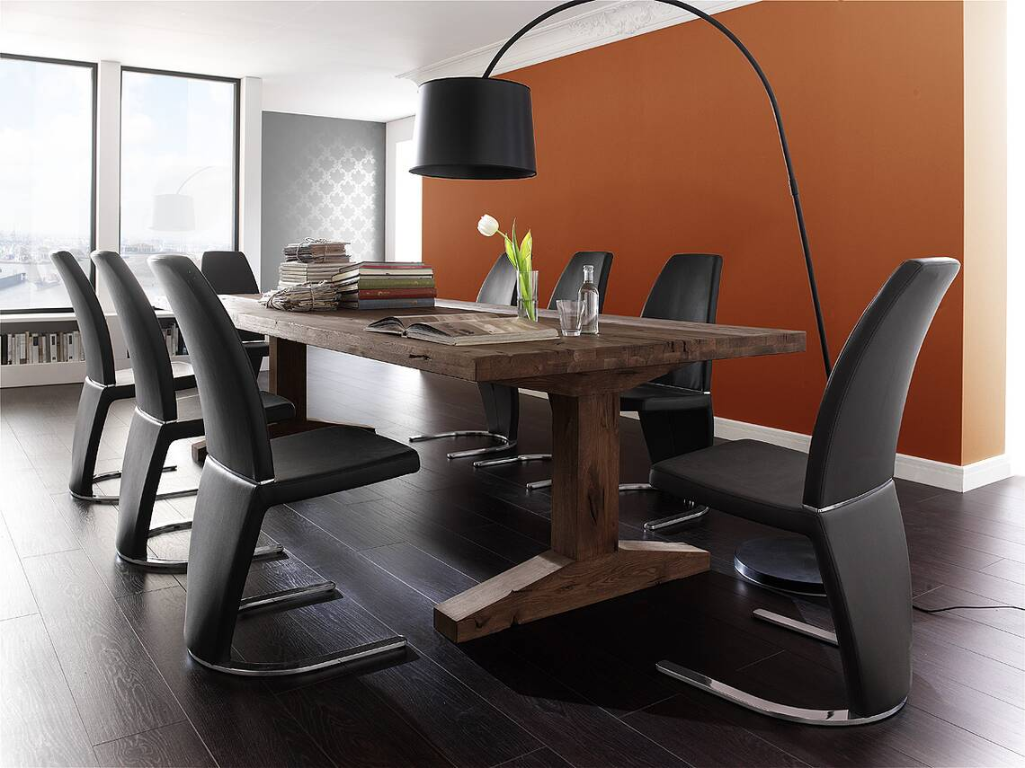 Esstisch Massivholz Reduziert : LORENZ Massivholz Esstisch Eiche, jeder Tisch ein Unikat 300×120 cm [R
