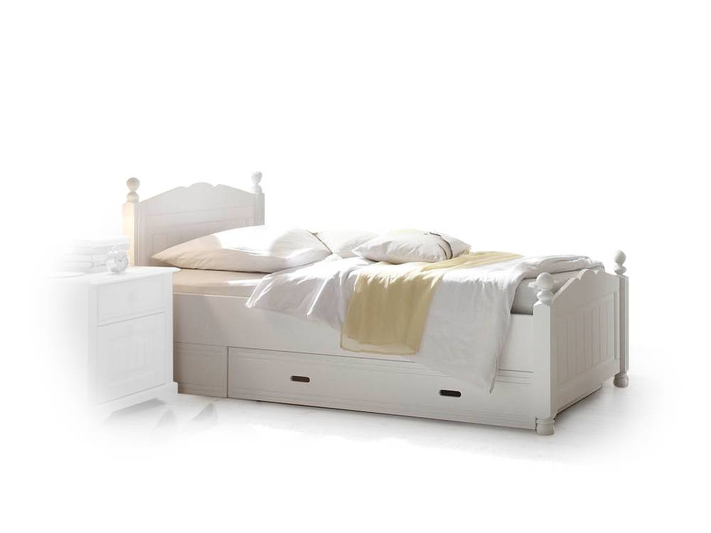 cinderella premium einzelbett kiefer weiss 90 x 200 cm. Black Bedroom Furniture Sets. Home Design Ideas