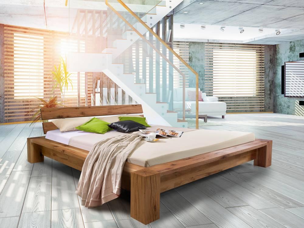 Morton doppelbett massivholzbett eiche ge lt 140 x 200 cm for Doppelbett 140