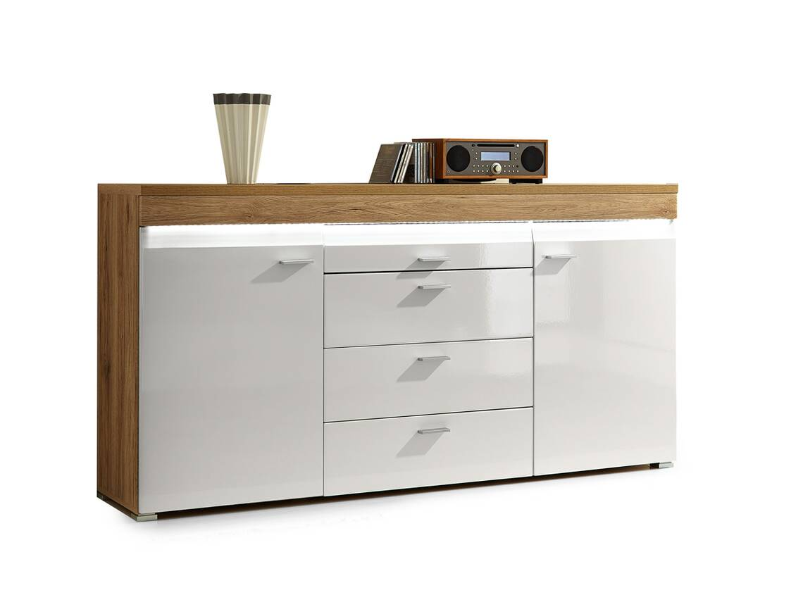 cally sideboard wei hochglanz san remo eiche hell. Black Bedroom Furniture Sets. Home Design Ideas