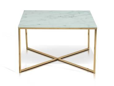 AMINDA Couchtisch 80x80 cm, Glasplatte mit  Marmorprint/Gold