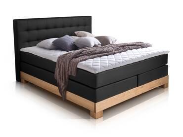ARCHE Boxspringbett mit Massivholzrahmen 160 x 200 cm | schwarz | Buche | Härtegrad 3