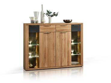 BIANCA Highboard Wildeiche massiv teilmassiv
