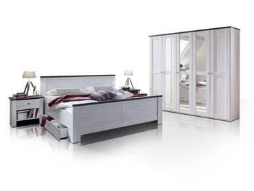 CALIFORNIA Komplett-Schlafzimmer I Weißeiche/lavafarbig