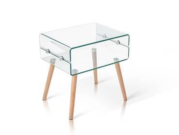 CATALINA Beistelltisch Glas/Füße Eiche