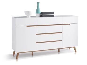 CAVA Sideboard matt weiß/eichefarbig