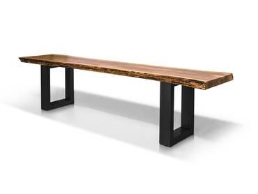 DALIN Sitzbank Akazie massiv/ Metallfüße 180 cm | schwarz