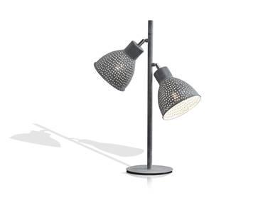 IRON Tischlampe mit 2 Lampen grau