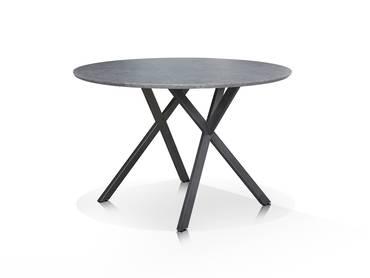 Esstisch rund schwarz  JULIAN Esstisch rund 120 cm Gestell schwarz Eiche