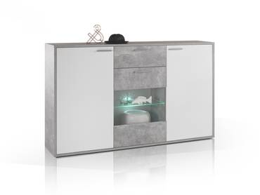 MARIC Highboard Beton/weiß