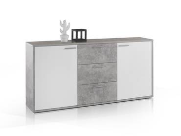 MARIC Sideboard betongrau/weiß