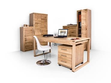 OFFICE FOUR komplett Büro, Material Teilmassiv Wildeiche teilmassiv
