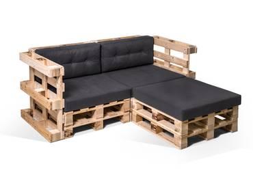 PALETTI Ecksofa 2-Sitzer aus Paletten natur