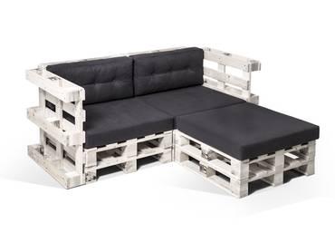 PALETTI Ecksofa 2-Sitzer aus Paletten weiß lackiert