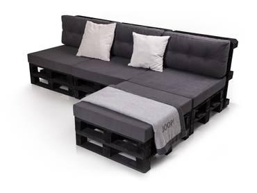 PALETTI 3-Sitzer Ecksofa Sofa aus Paletten Fichte schwarz