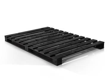 PALETTI Massivholzbett aus Paletten schwarz lackiert