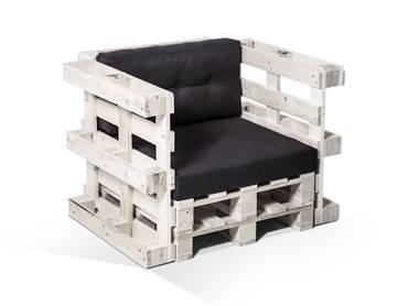 PALETTI Sessel aus Paletten weiß lackiert