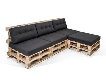 Ecksofa PALETTI 3-Sitzer aus Paletten Fichte natur ohne Armlehnen