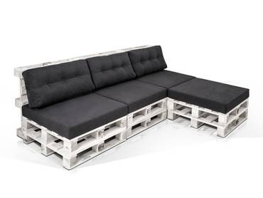 PALETTI Ecksofa 3-Sitzer aus Paletten Fichte weiss lackiert