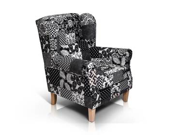 WILLY Ohrensessel Patchwork schwarz